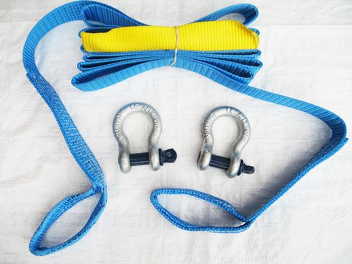 Tow Strap with Shackles 50MM 4.5M 5 Ton (Heavy Duty Blue Reinforced Eyes Rope Strop)